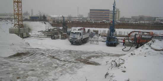 Bohrfeld im Winter